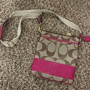 COACH tan with pink Crossbody Purse bag